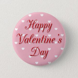 Bóton Redondo 5.08cm Botão cor-de-rosa e branco do feliz dia dos