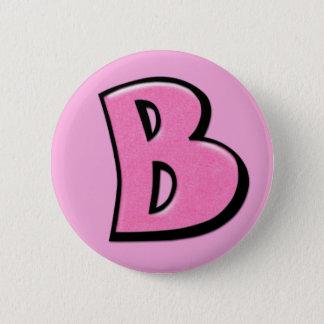 Bóton Redondo 5.08cm Botão cor-de-rosa parvo da letra B