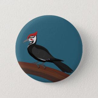 Bóton Redondo 5.08cm Botão da arte do vetor do pica-pau de Pileated