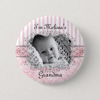 Bóton Redondo 5.08cm Botão da avó - rosa do damasco & das listras