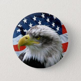 Bóton Redondo 5.08cm Botão da bandeira americana da águia americana