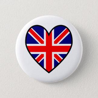 Bóton Redondo 5.08cm Botão da bandeira do coração de Union Jack