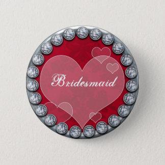 Bóton Redondo 5.08cm Botão da dama de honra com coração de prata dos