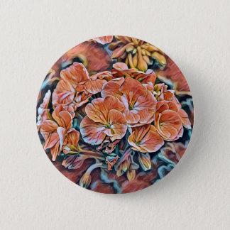 Bóton Redondo 5.08cm Botão da flor com design alaranjado da flor