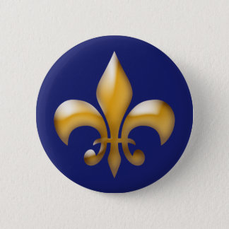 Bóton Redondo 5.08cm Botão da flor de lis no marinho e no ouro