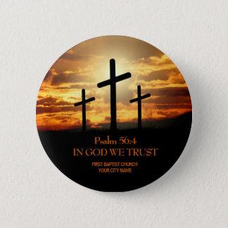 Bóton Redondo 5.08cm Botão da igreja cristã de três cruzes