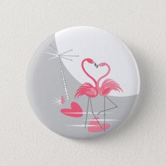 Bóton Redondo 5.08cm Botão da lua do amor do flamingo grande