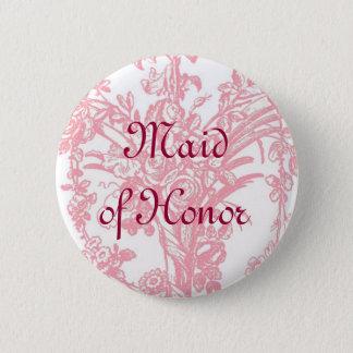 Bóton Redondo 5.08cm Botão da madrinha de casamento no backgro floral