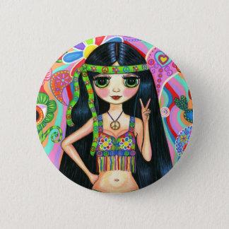 Bóton Redondo 5.08cm Botão da menina do Hippie do sinal de paz