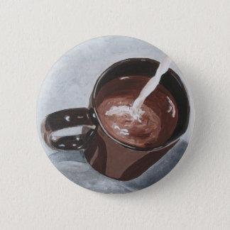 Bóton Redondo 5.08cm Botão da pintura do copo de café - prata e ouro