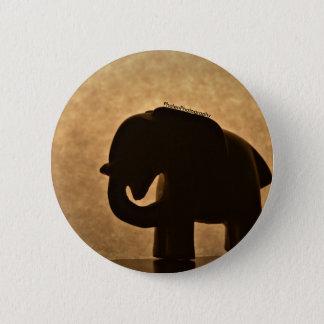 Bóton Redondo 5.08cm Botão da silhueta da estatueta do elefante