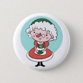 Bóton Redondo 5.08cm Botão da Sra. Claus Natal