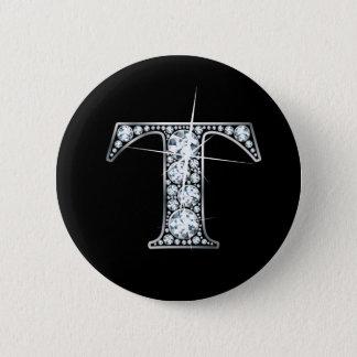 """Bóton Redondo 5.08cm Botão de Bling do diamante de """"T"""""""