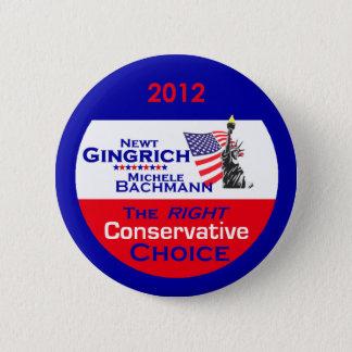 Bóton Redondo 5.08cm Botão de Gingrich Bachmann