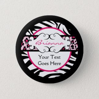 Bóton Redondo 5.08cm Botão de impressão animal anca do rosa quente e do