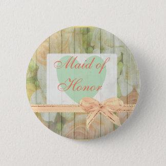 Bóton Redondo 5.08cm Botão de madeira rústico floral do casamento da