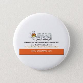 Bóton Redondo 5.08cm Botão de OJMAG com logotipo branco e alaranjado