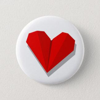 Bóton Redondo 5.08cm Botão de Origami do coração do amor