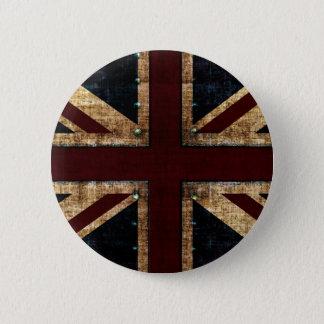 Bóton Redondo 5.08cm botão de Union Jack do design do vintage