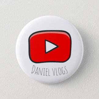 Bóton Redondo 5.08cm Botão de youtube dos vlogs de Daniel