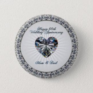 Bóton Redondo 5.08cm Botão do aniversário de casamento do coração 60th