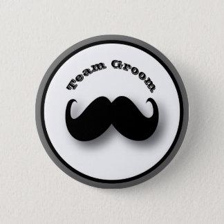 Bóton Redondo 5.08cm Botão do bigode - noivo da equipe