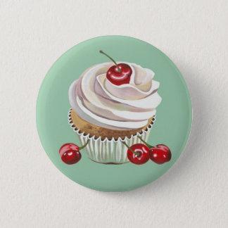 Bóton Redondo 5.08cm Botão do crachá do cupcake da cereja da baunilha
