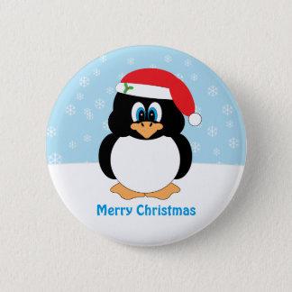 Bóton Redondo 5.08cm Botão do pinguim do Feliz Natal