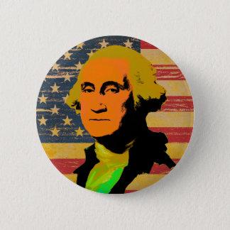 Bóton Redondo 5.08cm Botão do pop art da bandeira americana de George