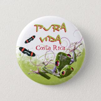 Bóton Redondo 5.08cm Botão do sapo de árvore de Rican Pura Vida da
