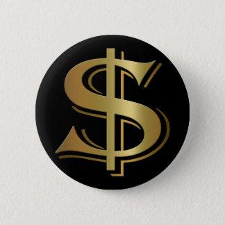 Bóton Redondo 5.08cm Botão do sinal de dólar