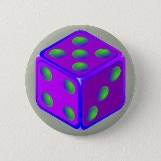 Bóton Redondo 5.08cm Botão do tema dos dados do divertimento