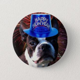 Bóton Redondo 5.08cm Botão do terrier de Boston do feliz ano novo