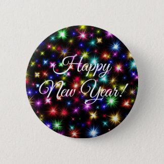 Bóton Redondo 5.08cm Botão dos fogos-de-artifício do feliz ano novo