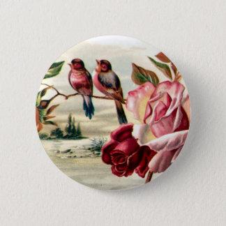 Bóton Redondo 5.08cm Botão dos rosas do pássaro do vintage