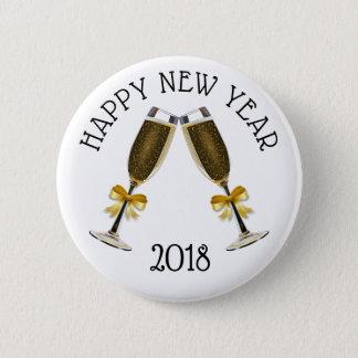 Bóton Redondo 5.08cm Botão dos vidros de Champagne do feliz ano novo