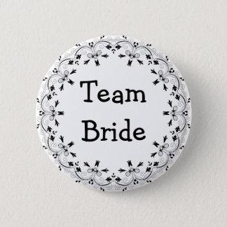 Bóton Redondo 5.08cm Botão extravagante preto e branco da noiva da
