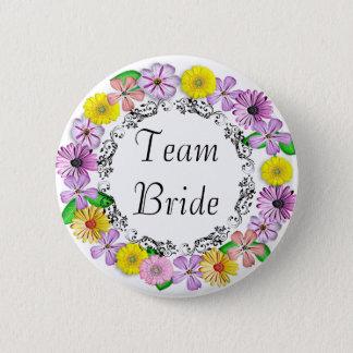 Bóton Redondo 5.08cm Botão floral bonito da noiva da equipe