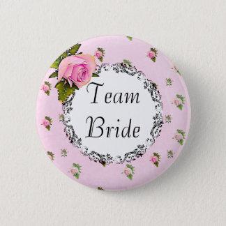 Bóton Redondo 5.08cm Botão floral bonito da noiva da equipe do rosa do