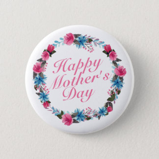 Bóton Redondo 5.08cm Botão floral da grinalda do dia das mães feliz