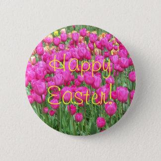 Bóton Redondo 5.08cm Botão floral da páscoa das tulipas cor-de-rosa