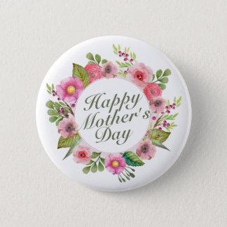 Bóton Redondo 5.08cm Botão floral do quadro do dia das mães feliz