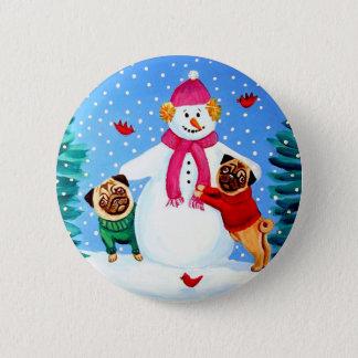 Bóton Redondo 5.08cm Botão Frosty dos ajudantes do Pug