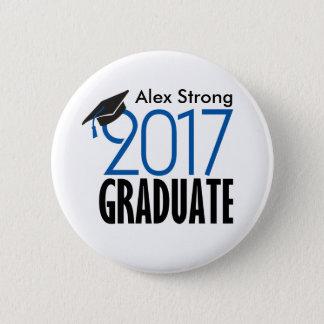 Bóton Redondo 5.08cm Botão graduado preto & do azul 2017 de Pinback