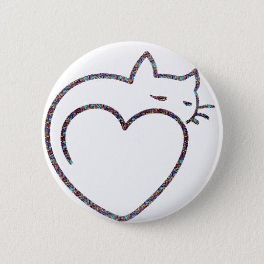"""Bóton Redondo 5.08cm Botão """"Heart Cat"""""""