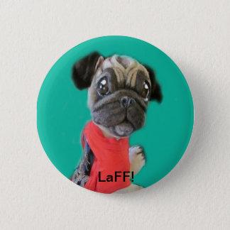 Bóton Redondo 5.08cm Botão LaFF do cão de filhote de cachorro do Pug do