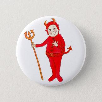 """Bóton Redondo 5.08cm """"Botão ou crachá do diabo vermelho pequeno"""""""