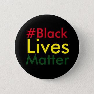 Bóton Redondo 5.08cm Botão preto de Hashtag Rasta da matéria das vidas