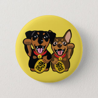 Bóton Redondo 5.08cm Botão redondo do cão afortunado do Pin do minuto