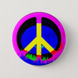 Bóton Redondo 5.08cm Botão redondo psicadélico colorido do sinal de paz